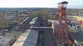 moers : MOERS  GERMANY - JANUARY 03 2016 : Aerial of the historical coal mine buildings Rheinpreussen Stock Footage