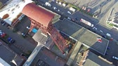kömür : MOERS  GERMANY - JANUARY 03 2016 : Aerial of the historical coal mine buildings Rheinpreussen Stok Video