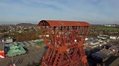 голову выстрел : MOERS  GERMANY - JANUARY 03 2016 : Aerial of the historical coal mine buildings Rheinpreussen Стоковые видеозаписи
