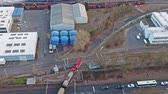 dredging : RHEINBERG  GERMANY - FEBRUARY 03 2017 : Train passing the chemical plant