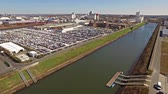 müsli : Neuss  Germany - April 06 2018 : Flying over the harbour area