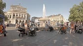 opernplatz : Frankfurt  Germany - August 02 2018: People searching for refreshment in the water of the fountain at Opernplatz during one of the warmest summer days in the city Stock Footage