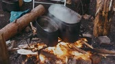 kamp ateşi : Water Boils in a Pot Over the Fire Stok Video