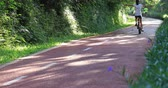 jazda na rowerze : Woman riding a bike on sunny park trail with arms outstretched Wideo