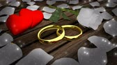compromisso : Two golden wedding rings and white rose with petals on wooden table Vídeos