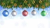 fiocchi di neve : Christmas Decorations Hanging and Rotating From Twigs- 3D render. Seamless loop