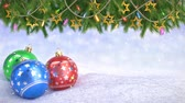 střídat : Christmas balls in snow and Twigs decoration on bokeh background - 3D render. Seamless loop