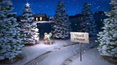 noel kartı : animation of magic czech winter scene with cottage and christmas tree. 3D render. seamless loop Stok Video