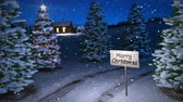 noel kartı : animation of magic winter scene with cottage and christmas tree. 3D render. seamless loop