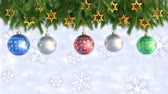střídat : Christmas Decorations Hanging and Rotating From Twigs- 3D render. Seamless loop