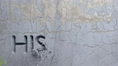 compreensão : Animation of History word carved in stone wall