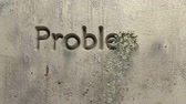 animation of problem? solution! word carved in a gray wall Stok Video