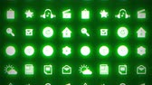 перспектива : Business splash screen background of moving mobile applications glowing green neon with social media network technology cloud services icons available in 4k UHD FullHD and HD video animation footage loop