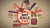 anúncio : Hot sales promotion splash screen with discount tags price labels and best deal cardboard cards available in 4k UHD FullHD and HD video animation footage