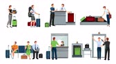 escada rolante : People in airport video animation footage Stock Footage