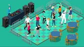 www : Isometric people on dancefloor footage