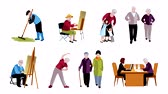 Elderly People video animation footage Stok Video