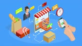 Online shopping process animation with isometric icons available in 4k UHD FullHD and HD 3d loopable realistic video footage