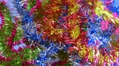 advento : Christmas tinsel, frippery falls on the table. New year, Christmas, holidays.