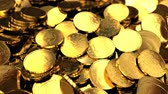 3d animation of camera panning over golden dollars treasure background