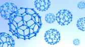 3d animation of rotating molecular structures over blue background