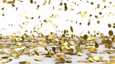 3d animation of falling golden coins over white background