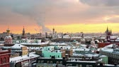 salvador : Moscow, Russia. Aerial view of popular landmarks - Kremlin walls, Saint Basil Cathedral and others - in Moscow, Russia. Time-lapse at sunset with sky. Evening to night in Moscow. Extreme zoom in