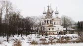 russian : Vologda, Russia. Winter in russian city Vologda, Russia, frozen river with old buildings