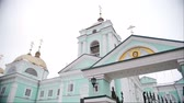 roof : View of orthodox church. wide shot Stock Footage