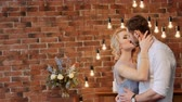 bokeh : Beatiful bride and groom in the stylish interior. Serenity