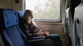 flatbed : Young woman using tablet in colourful case while traveling by train Stock Footage
