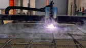 laser cutting : plasma cutter. Plasma robotic industrial equipment works with metall sheet.