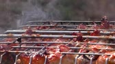 gelosia : Barbecue meat is roasted in a lattice on the fire. Roasting flesh at rest from the outside. Stock Footage