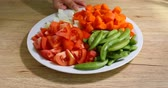 vegetable carrot, tomato, onion and string bean sliced on dish prepare cooking food