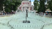 SOFIA, BULGARIA - MAY 28, 2018: Fountains in front of the Ivan Vazov National Theatre, one of the main landmarks in Sofia, Bulgaria