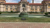 SOFIA, BULGARIA - MAY 28, 2018: Fountain in front of the Central mineral baths building, one of the main landmarks in Sofia, Bulgaria