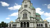 SOFIA, BULGARIA - MAY 28, 2018: The St. Alexander Nevsky cathedral is one of the largest Eastern Orthodox cathedrals in the world, located in Sofia, Bulgaria Stock mozgókép