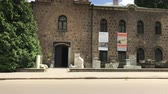 podróże : SOFIA, BULGARIA - MAY 28, 2018: The entrance of the National Archaeological Museum in the centre of Sofia, Bulgaria Wideo