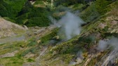 deprem : Valley of Geysers. Tourist season in Kamchatka Peninsula. Kronotsky Nature Reserve Stok Video