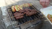 beef burger : Grilling meat on barbecue, barbecue in nature Stock Footage
