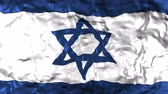 palestine : Israel flag animated, waving flag composed by a blue David star made of thin lines with six points and three lines in blue and white, fabric texture background