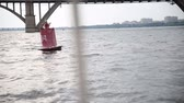 ограничение : Floating buoy on the river, Стоковые видеозаписи
