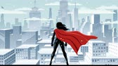 snow mantle : Super heroine watching over city on snowy day.