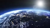 europe : Satellite view of the earth at night Stock Footage