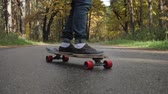 hilkat garibesi : Man riding on a longboard skate on a road through a forest