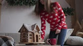 perník : Merry Christmas and Happy Holidays. Young woman are drinking warm tea with Christmas cookies Dostupné videozáznamy