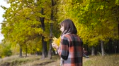 buquê : bouquet of the yellow leaves. Autumn girl walking in city park. Portrait of happy lovely and beautiful young woman in forest in fall colors. Stock Footage