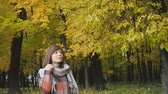 collects : Autumn girl walking in city park. Portrait of happy lovely and beautiful young woman in forest in fall colors. Stock Footage
