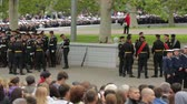 защитник : SEVASTOPOL, REPUBLIC OF CRIMEA - MAY 9, 2014: Dolly shot of crowds of people and soldiers waiting for the great parade devoted to anniversary of Victory Day on May, 9 in Sevastopol.