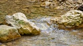 Stones form a dam on the river Stock Footage